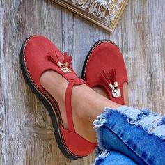 Dla kobiet Zamsz Płaski Obcas Plaskie Zakryte Palce Round Toe Z Klamra obuwie