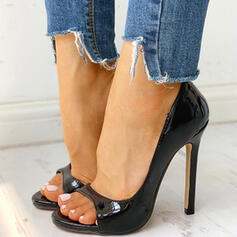 Women's PU Stiletto Heel Pumps Peep Toe With Hollow-out Solid Color shoes