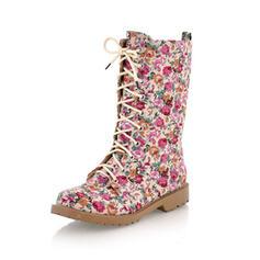 Dla kobiet PU Obcas Slupek Kozaki do kolan Round Toe Z Sznurowanie Nadruk Kwiatowy obuwie