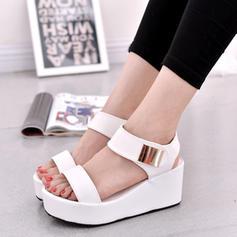 Dla kobiet Zamsz Obcas Koturnowy Sandały Otwarty Nosek Buta Bez Pięty Z Klamra obuwie