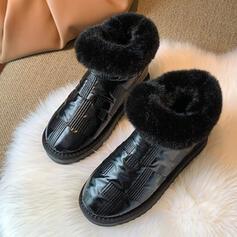 Dla kobiet PU Niski Obcas Botki Round Toe Z Jednolity kolor obuwie