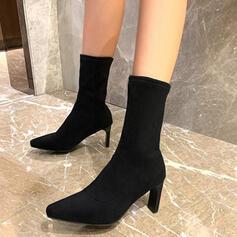 Dla kobiet Skóra ekologiczna Obcas Stiletto Kozaki do polowy lydki Spiczasty palec u nogi Z Zamek błyskawiczny Jednolity kolor obuwie