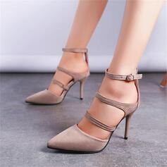 Dla kobiet Zamsz Obcas Stiletto Czólenka Zakryte Palce Spiczasty palec u nogi Z Klamra Tkanina Wypalana obuwie