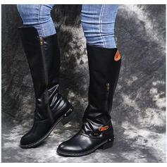 Dla kobiet Skóra ekologiczna Obcas Slupek Kozaki do polowy lydki Spiczasty palec u nogi Z Nit Zamek błyskawiczny obuwie