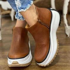 Dla kobiet Skóra ekologiczna Płaski Obcas Platforma Kozaki Botki Round Toe Z Zamek błyskawiczny Jednolity kolor obuwie