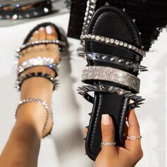 Women's PU Flat Heel Sandals Slippers With Rivet shoes