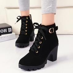Dla kobiet PU Obcas Slupek Kozaki Obcasy Z Klamra Sznurowanie Jednolity kolor obuwie