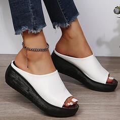 Dla kobiet PU Obcas Koturnowy Sandały Kapcie Z Jednolity kolor obuwie