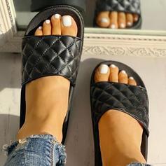 Dla kobiet PU Płaski Obcas Sandały Otwarty Nosek Buta Kapcie obuwie