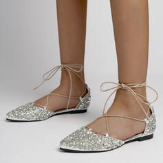 Women's Microfiber Flat Heel Sandals Flats Closed Toe Pointed Toe With Rhinestone Sequin Lace-up shoes