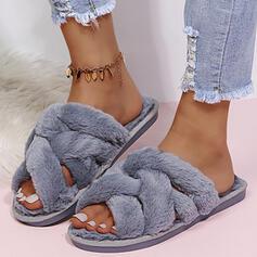 Dla kobiet Sztuczne futro Płaski Obcas Sandały Kapcie Z Futro Jednolity kolor obuwie