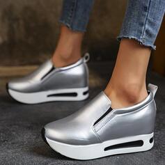 Dla kobiet PU Płaski Obcas Platforma Plaskie Niskie góry Niesznurowane mokasyny Tenisówki Z Elastyczna taśma Jednolity kolor obuwie