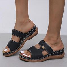 Dla kobiet PU Obcas Koturnowy Sandały Platforma Koturny Otwarty Nosek Buta Kapcie Z Tkanina Wypalana Jednolity kolor Nadruk Kwiatowy obuwie