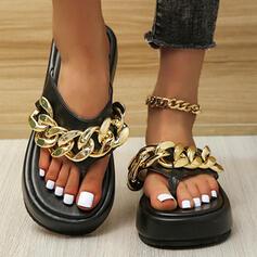 Dla kobiet PU Płaski Obcas Sandały Platforma Otwarty Nosek Buta Kapcie Z Łańcuszek Jednolity kolor obuwie
