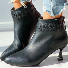 Women's PU Kitten Heel Ankle Boots Pointed Toe With Zipper Braided Strap Solid Color shoes