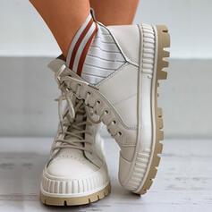 Dla kobiet Material Płaski Obcas Botki Z Sznurowanie Elastyczna taśma obuwie