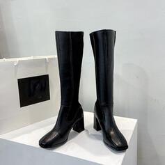 Dla kobiet PU Obcas Slupek Kozaki do polowy lydki Spiczasty palec u nogi Z Zamek błyskawiczny Jednolity kolor obuwie