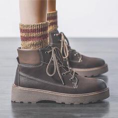 Dla kobiet Skóra ekologiczna Płaski Obcas Z Sznurowanie obuwie