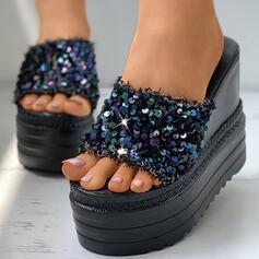 Dla kobiet PU Obcas Koturnowy Sandały Platforma Koturny Otwarty Nosek Buta Kapcie Z Byszczący brokat obuwie