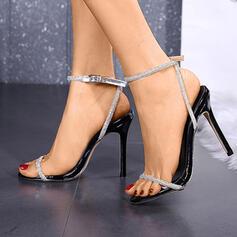 Dla kobiet PU Obcas Stiletto Otwarty Nosek Buta Z Stras/ Krysztal Górski obuwie