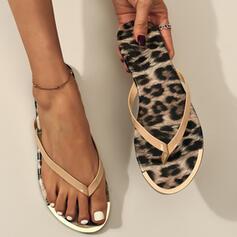 Dla kobiet PVC Płaski Obcas Sandały Japonki Kapcie Z Nadruk Zwierzęcy obuwie