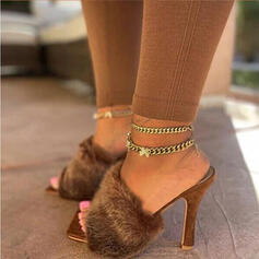 Dla kobiet Tkanina Obcas Stiletto Sandały Kapcie Z Jednolity kolor obuwie