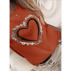 Sequins Heart Round Neck Long Sleeves Casual T-shirts