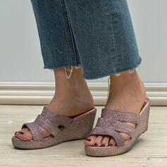 Dla kobiet Skóra ekologiczna Obcas Koturnowy Sandały Platforma Koturny Otwarty Nosek Buta Kapcie Z Tkanina Wypalana obuwie