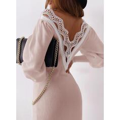 Koronka/Jednolita Długie rękawy Bodycon Nad kolana Casual/Elegancki Sweter Sukienki