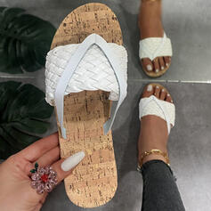Dla kobiet PU Płaski Obcas Sandały Plaskie Japonki Kapcie Z Plecione Ramiączko Jednolity kolor obuwie