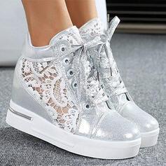 Dla kobiet PU Obcas Koturnowy Kozaki Z Koronka Sznurowanie obuwie