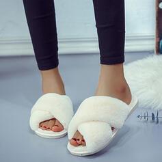 Dla kobiet Zamsz Skóra ekologiczna Płaski Obcas Sandały Otwarty Nosek Buta Kapcie Z Futro obuwie