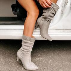 Dla kobiet Zamsz Obcas Stożek Kozaki Z Zamek błyskawiczny Jednolity kolor obuwie
