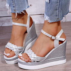 Dla kobiet PU Obcas Koturnowy Sandały Platforma Koturny Otwarty Nosek Buta Bez Pięty Z Klamra Plecione Ramiączko Jednolity kolor obuwie