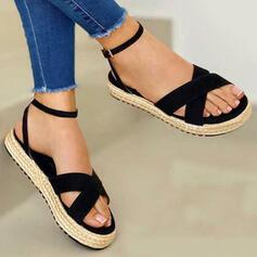Dla kobiet Material Płaski Obcas Sandały Plaskie Otwarty Nosek Buta Z Jednolity kolor W kratke obuwie