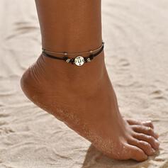 Prosty Stop Sznur skórzany Z Przywieszka Moneta Biżuteria plażowa Obrączki (Zestaw 2)