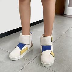 Dla kobiet Skóra ekologiczna Płaski Obcas Botki Round Toe Z Kolor splotu obuwie