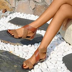 Dla kobiet Skóra ekologiczna Płaski Obcas Sandały Plaskie Otwarty Nosek Buta Z Tkanina Wypalana Plecione Ramiączko obuwie