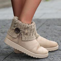 Dla kobiet Skóra ekologiczna Płaski Obcas Botki Buty zimowe Niskie góry Round Toe Z Przycisk obuwie