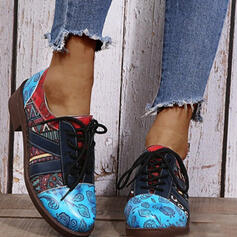 Women's PU Others Mary Jane Low Top Round Toe Loafers With Lace-up Splice Color shoes