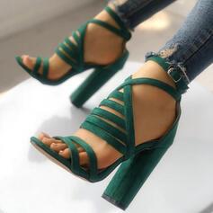 Dla kobiet Zamsz Sandały Czólenka Otwarty Nosek Buta Z Klamra obuwie