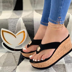Dla kobiet PU Obcas Koturnowy Sandały Platforma Koturny Japonki Kapcie Z Colorblock obuwie