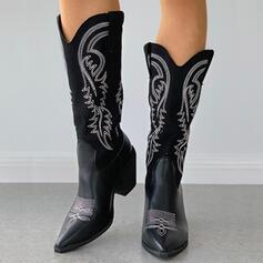 Dla kobiet Mikrofibra Obcas Slupek Riding Boots Spiczasty palec u nogi Z Kolor splotu Haftowana obuwie