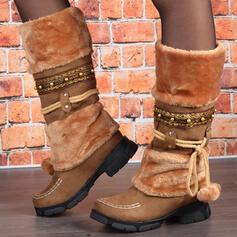 Dla kobiet PU Obcas Slupek Buty zimowe Round Toe Z Sznurowanie Kolor splotu obuwie
