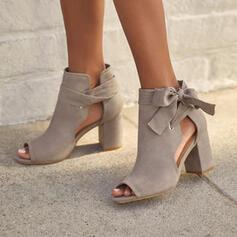 Dla kobiet Zamsz Obcas Slupek Czólenka Obcasy Z Kokarda Sznurowanie Tkanina Wypalana Jednolity kolor obuwie