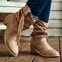 Dla kobiet PU Obcas Slupek Kozaki do polowy lydki Spiczasty palec u nogi Z Frędzle Plecione Ramiączko Jednolity kolor obuwie