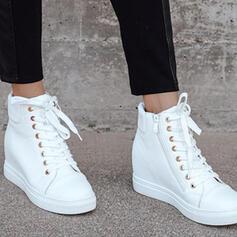 Dla kobiet PU Płaski Obcas Koturny Kozaki Wysoki szczyt Buty zimowe Z Sznurowanie Jednolity kolor obuwie