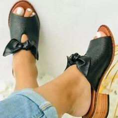 Dla kobiet PU Obcas Slupek Sandały Czólenka Kapcie Z Kokarda Tkanina Wypalana Jednolity kolor obuwie