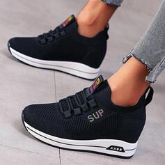 Dla kobiet Material Pięta Espadrille Plaskie Round Toe Z Sznurowanie obuwie