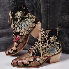 Dla kobiet PU Obcas Slupek Botki Niskie góry Spiczasty palec u nogi Z Sznurowanie Kwiatowy Haftowana obuwie